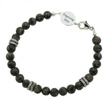 Mans Agate Memorial Bracelet with Engraving